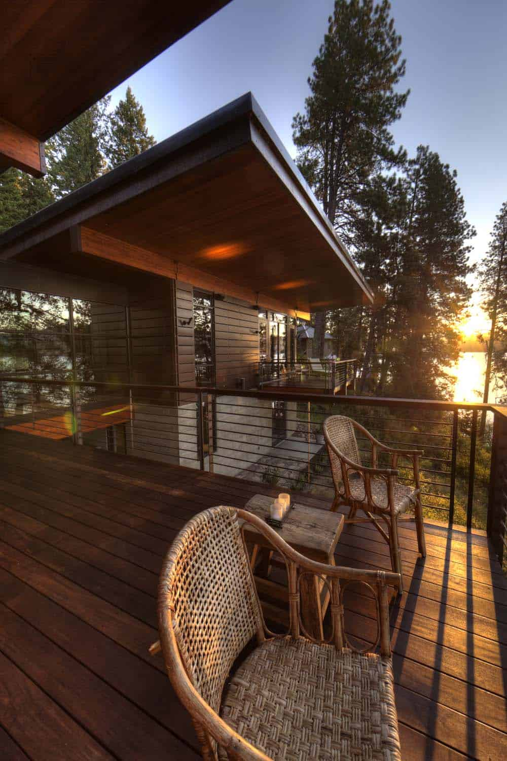 Modern Log Cabin Perched On A Cliff Overlooking Coeur D