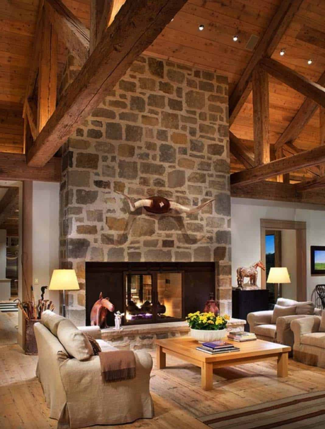 Rustic Lakeside Retreat-Fireplace