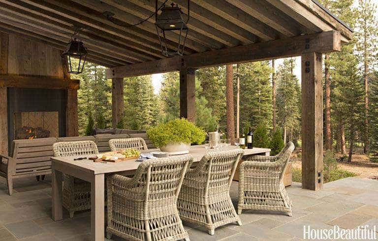 rustic mountain home outdoor dining room