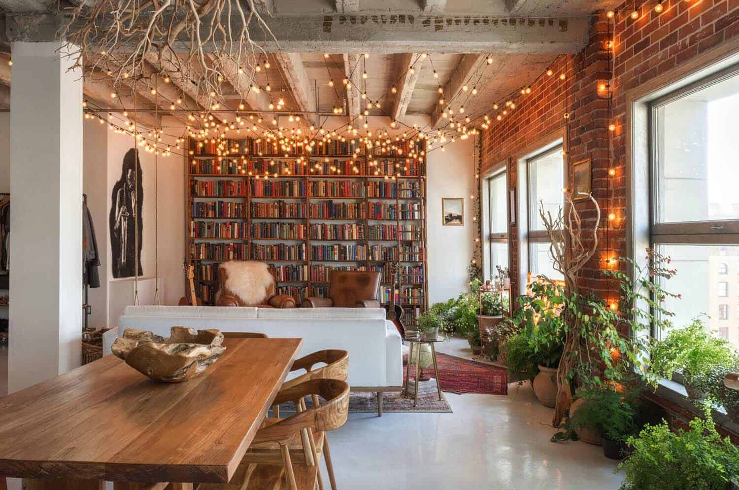 small book filled loft in downtown los angeles offers a magical aesthetic. Black Bedroom Furniture Sets. Home Design Ideas