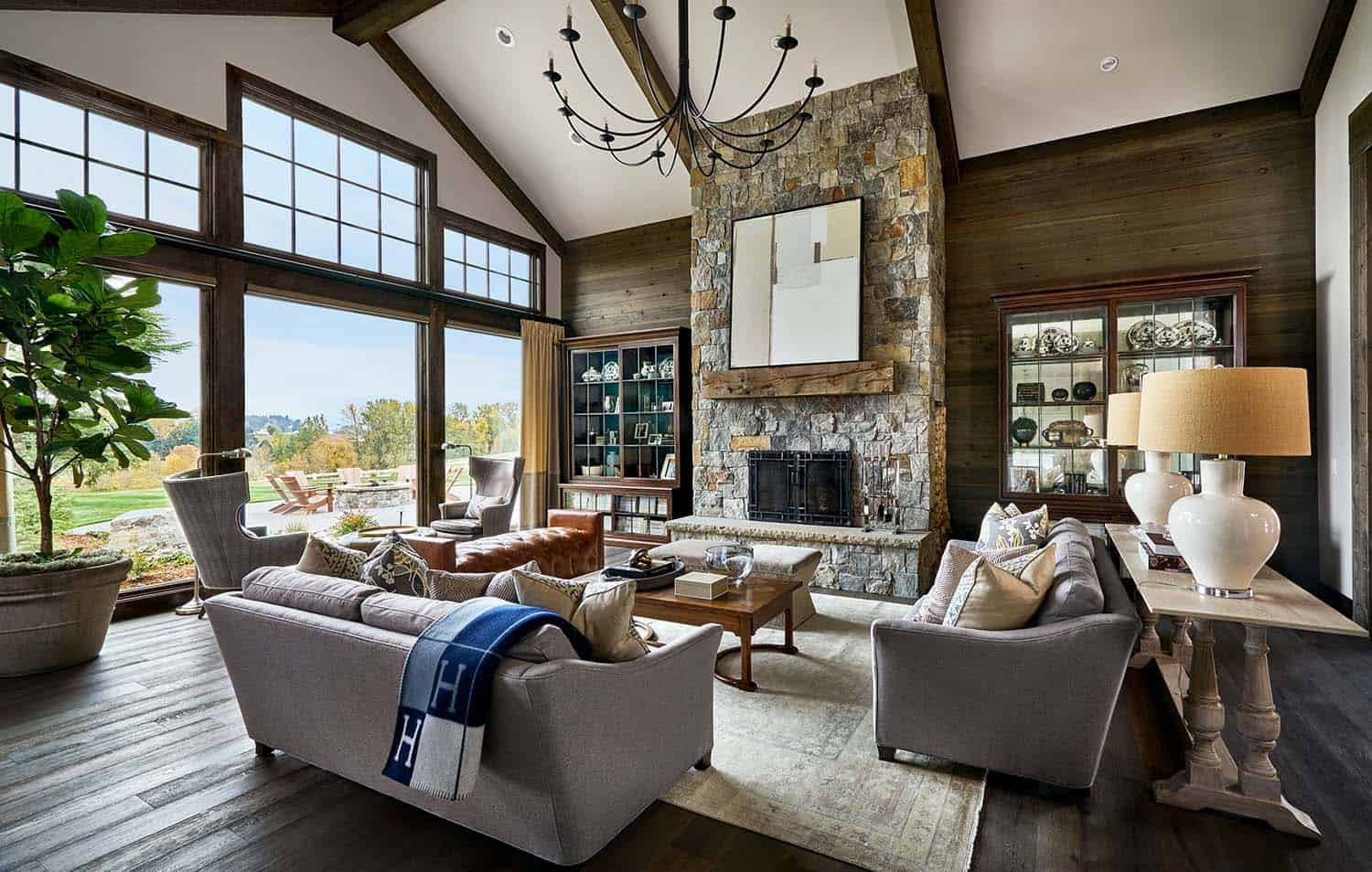 Contemporary rustic farmhouse with stunning living spaces - Modern farmhouse living room ...