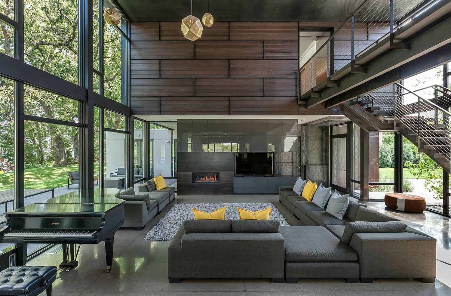 Industrial modern house boasts a serene lakeside setting ...