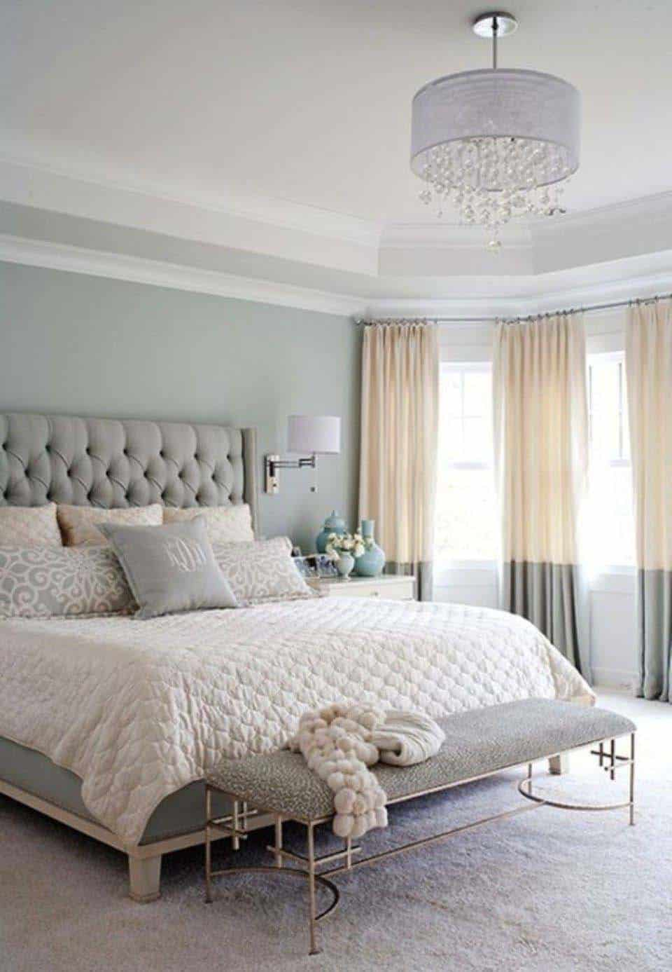 This Master Bedroom Is Filled With A Layering Of Textures In Soothing Color Scheme Tufted Headboard Complimented Plush Bedding