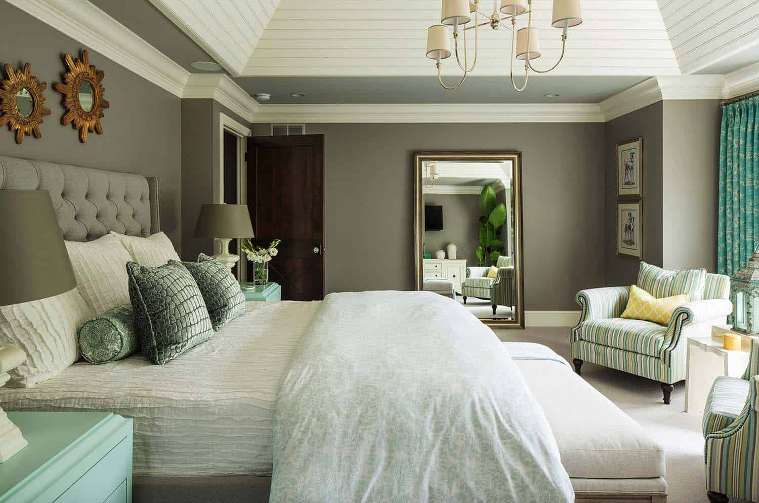 Master Bedroom 23 Neutral Walls And Bedding Creates A Calming Environment While Upholstered Chairs Aqua Painted Nightstands Adds Touch Of Cheer To
