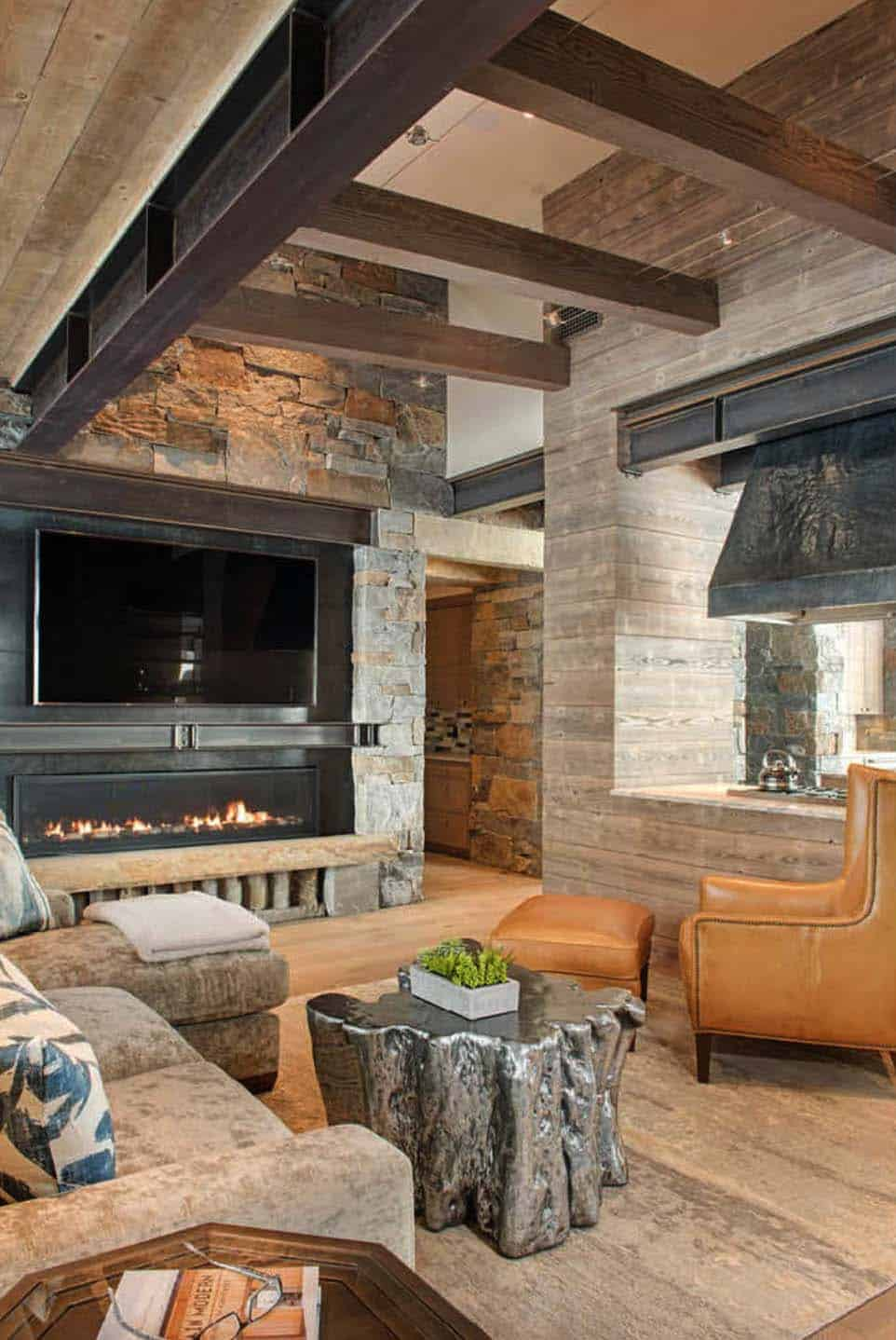 Modern rustic mountain home with spectacular views in big for Modern rustic architecture