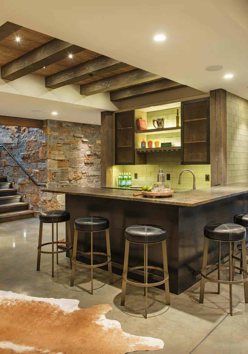 modern-rustic home bar