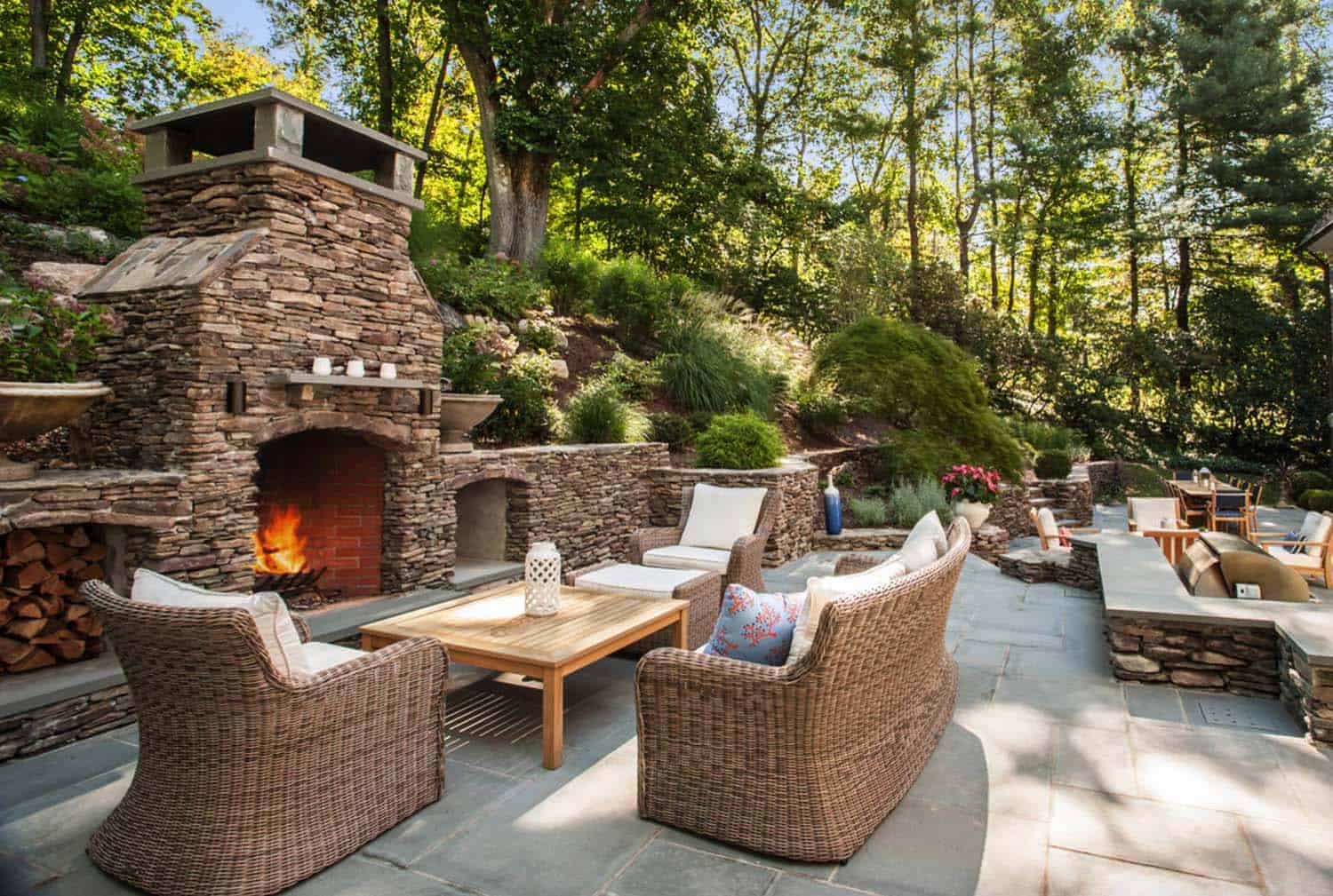 This Cozy Backyard Patio In Upstate New York Features A Fireplace With  Furniture From The Kingsley Bates Sag Harbor Collection.