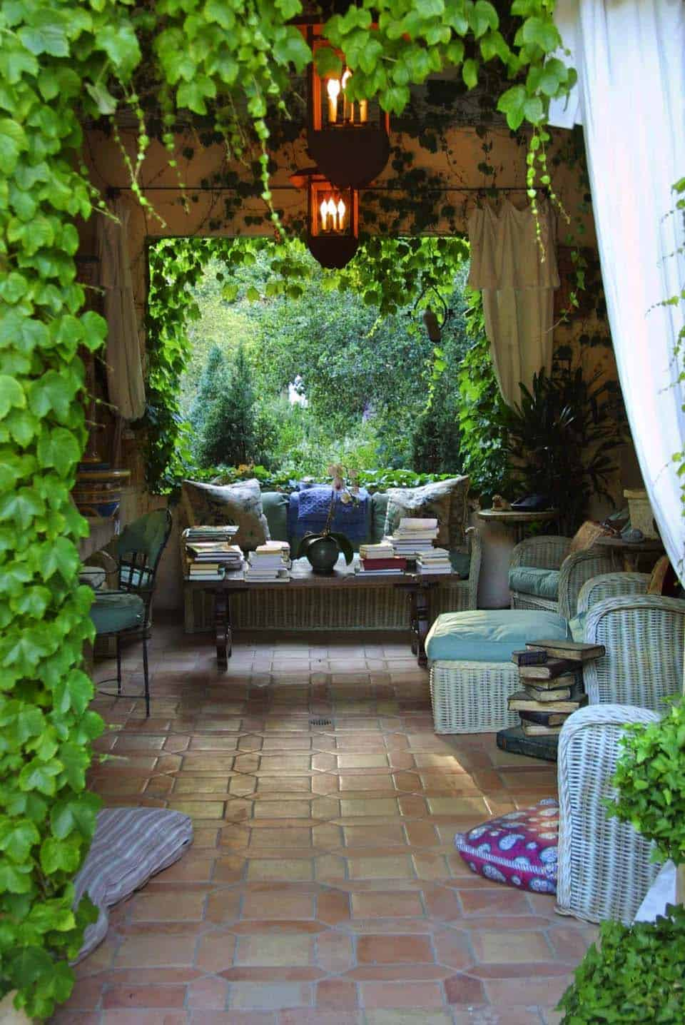 An Elegant French Country Garden Surrounds This Indoor Outdoor Loggia In Montecito California The Furnishings Are Antiques Flooring Is Antique