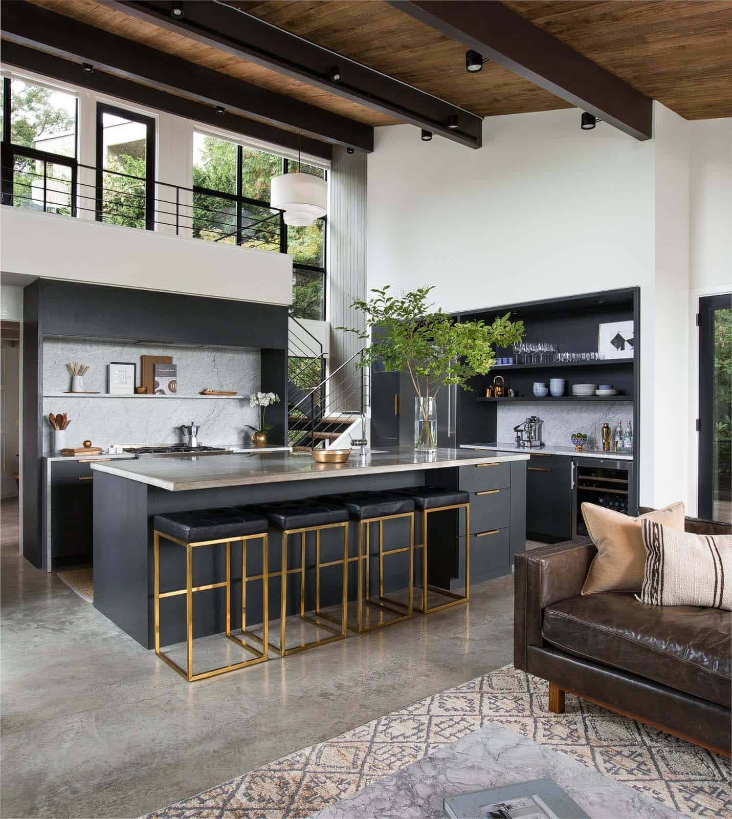 Spectacular Kitchen Family Room Renovation In Leesburg: Chic Midcentury Modern Renovation Surrounded By Woods In
