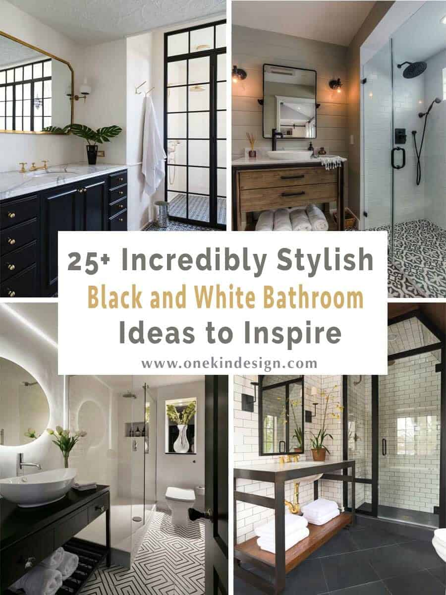 25+ Incredibly stylish black and white bathroom ideas to inspire on black and white kitchen floor, black and white floor patterns, black and white bathrooms marble tile for floor, black and white bathroom flooring, black and white painted bathroom,