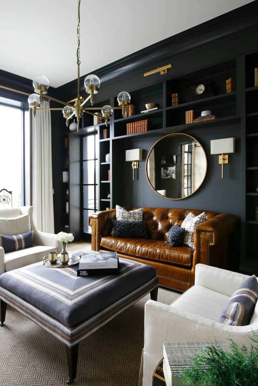 Super 28 Gorgeous Living Rooms With Black Walls That Create Cozy Drama Download Free Architecture Designs Photstoregrimeyleaguecom
