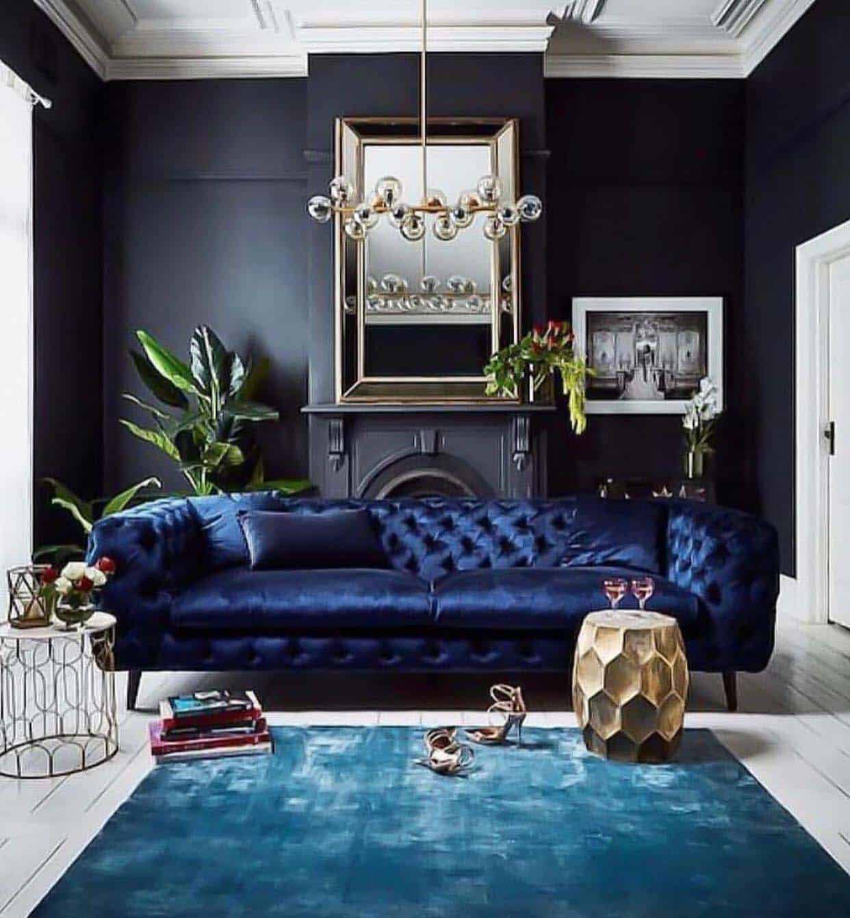 28 gorgeous living rooms with black walls that create cozy drama rh onekindesign com black wall living room ideas black brick wall living room
