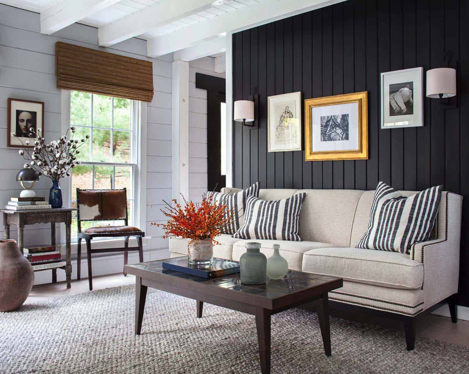 28 Gorgeous Living Rooms With Black Walls That Create Cozy