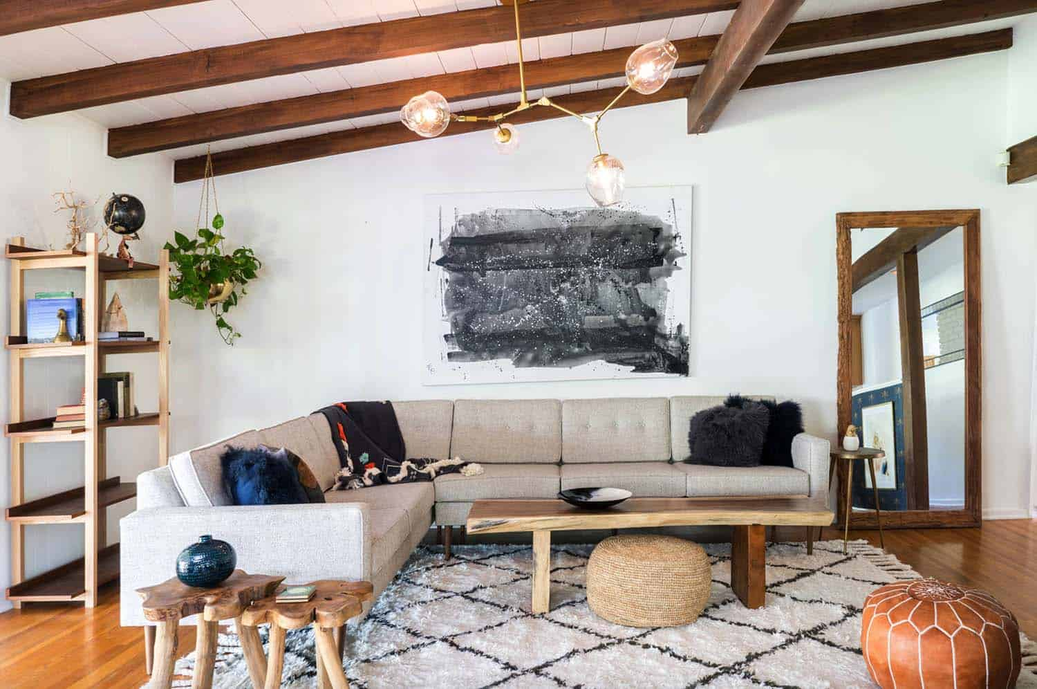 Delightful A Mid Century Living Room In Studio City, California Is Warm And Cozy  Thanks To Wood Flooring And Wood Beam Ceilings. Illuminating The Space Is  The Lindsey ...