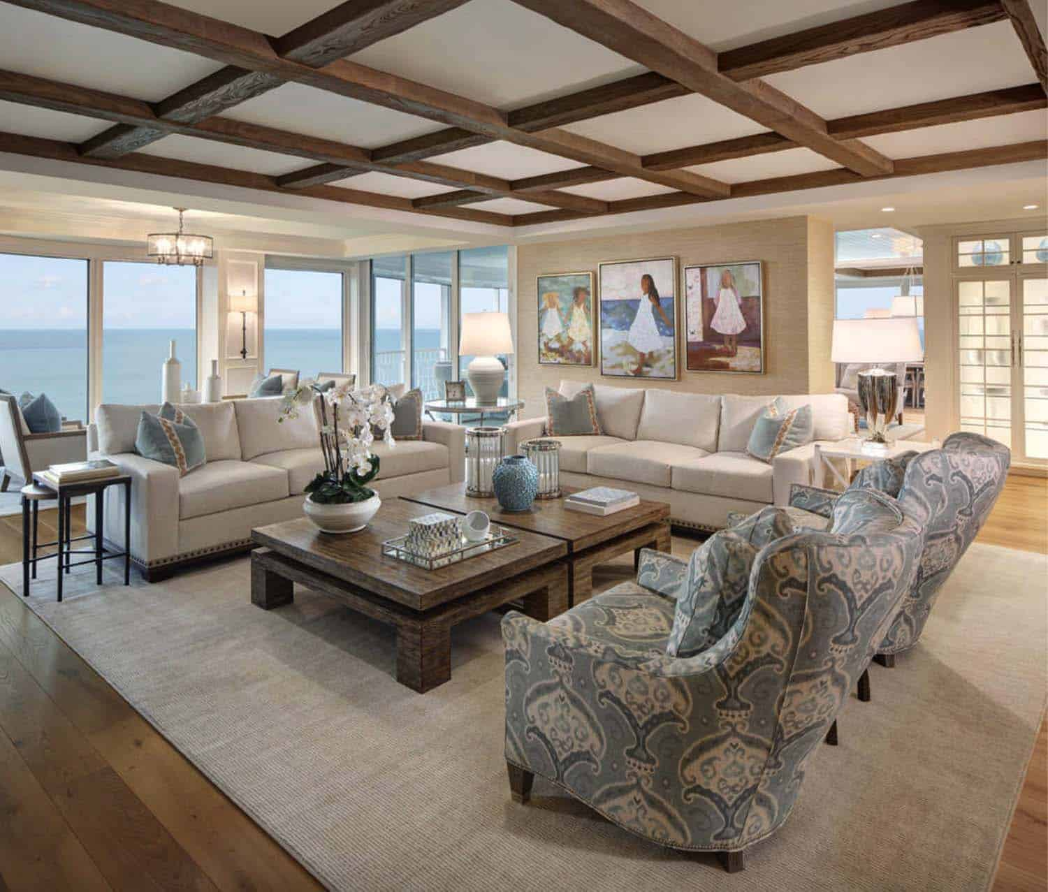 Beach style condo boasts magnificent views of the gulf of mexico - Beach style living room ...