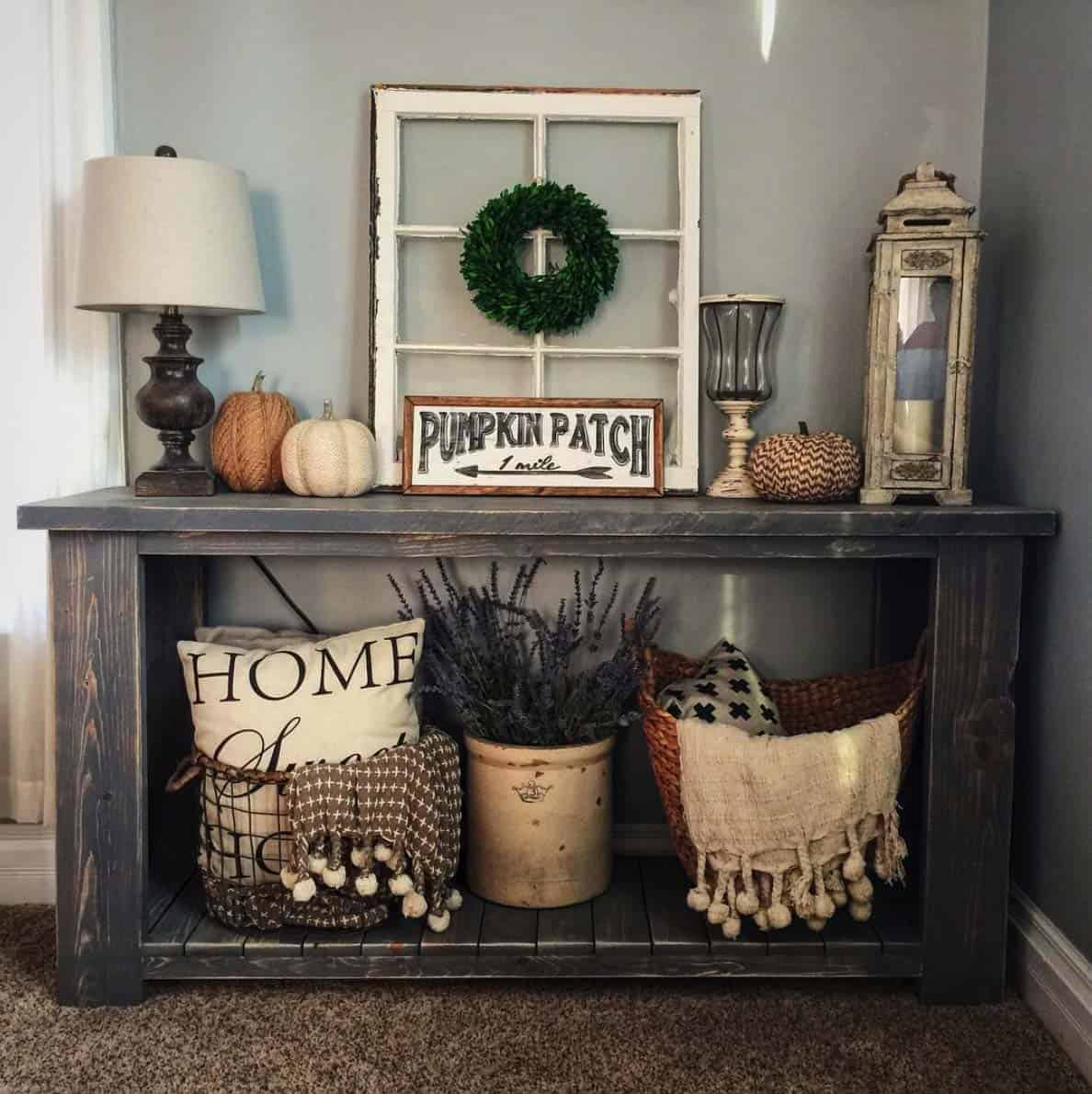 23 amazing ways to style your console table with fall decor - Decorating living room ideas pinterest ...