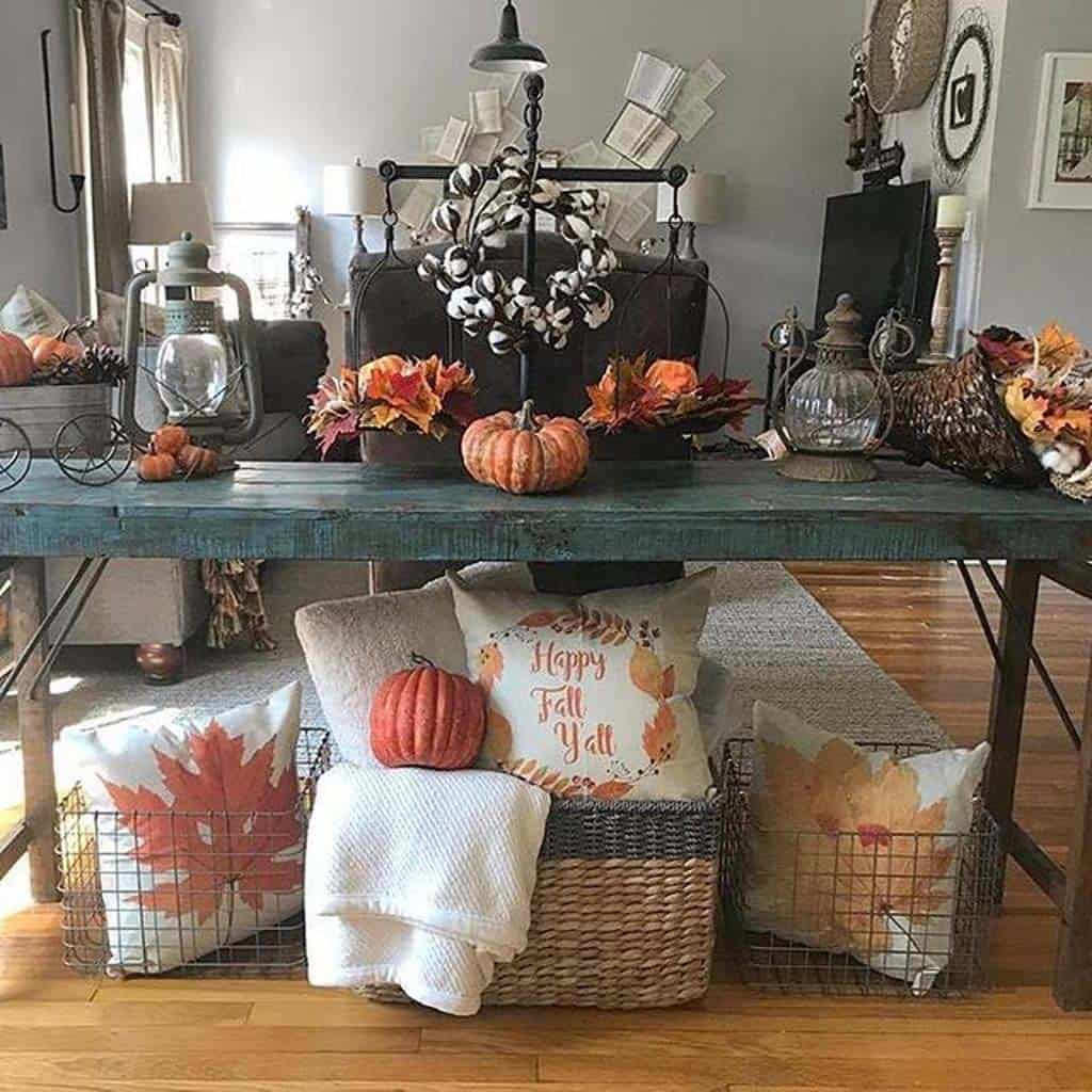Fresh Fall Home Decorating Ideas Home Tour: 23 Amazing Ways To Style Your Console Table With Fall Decor