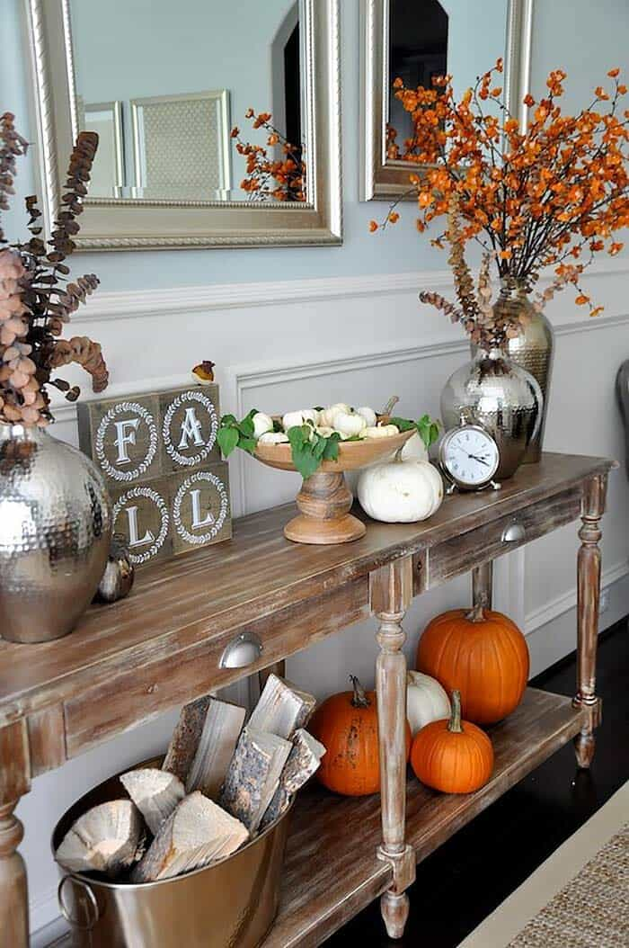 fall decor console table cozy entryway rustic decorate pumpkins room dining display lobby hobby decorating entry items honey subtle orange