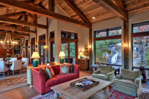 featured posts image for Rustic home in North Carolina designed above a flowing creek