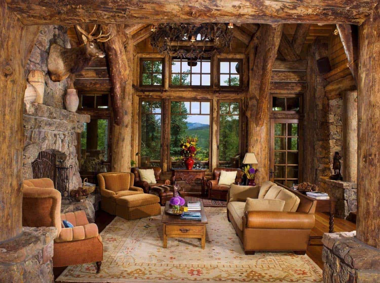 Romantic Rustic Log And Stone Home In A Colorado Mountain
