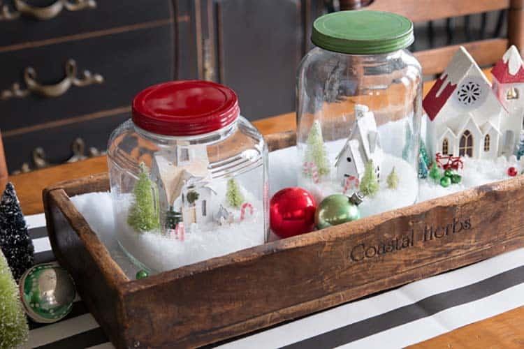 farmhouse-inspired-christmas-decor-snow-globe-village-centerpiece