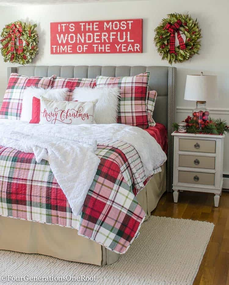 farmhouse-inspired-christmas-decorated-plaid-bedroom