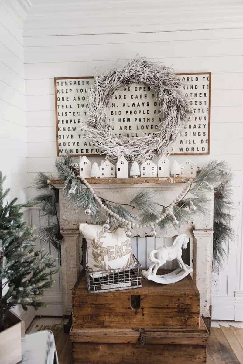 farmhouse-inspired-christmas-village-mantel-decor