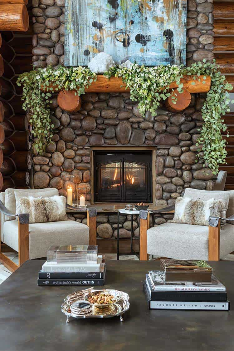 christmas-decorated-log-cabin-living-room