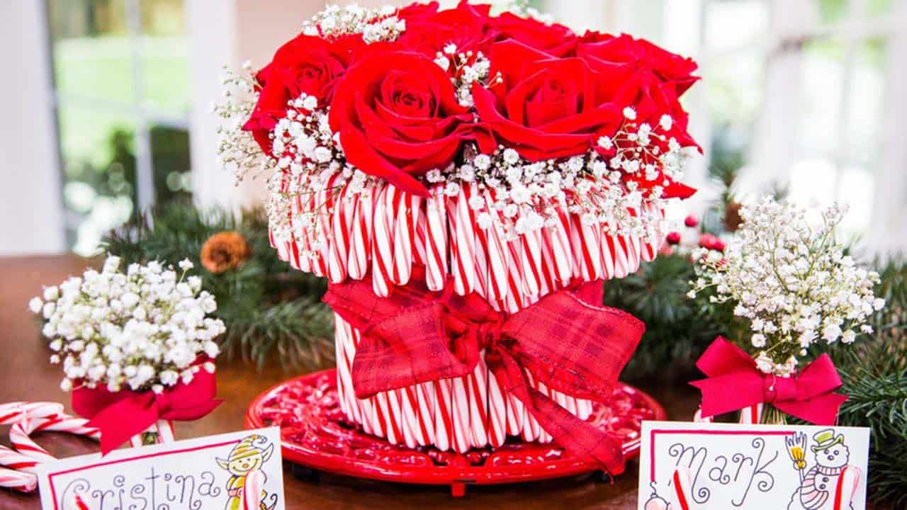 gorgeous-christmas table-centerpiece-candy-canes