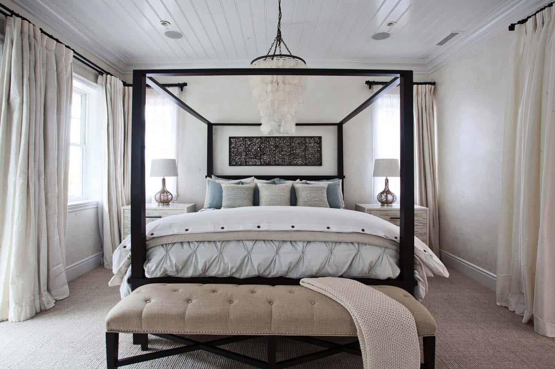 captivating beach chic master bedroom | Coastal luxe beach house nestled seaside in Corona del Mar