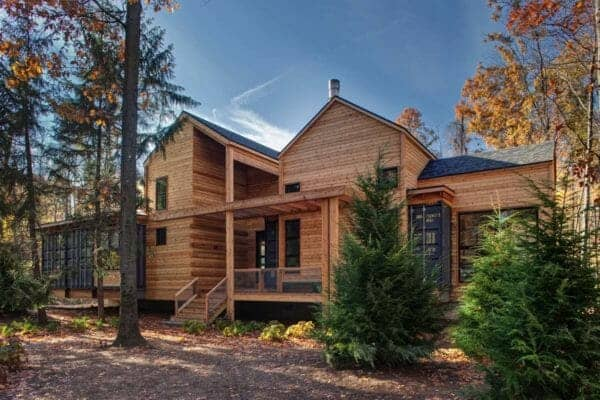 featured posts image for Modern home in the woods built using shipping containers in Michigan
