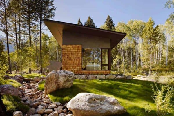 featured posts image for 950 Square foot guest cabin in Wyoming immersed in a woodsy setting