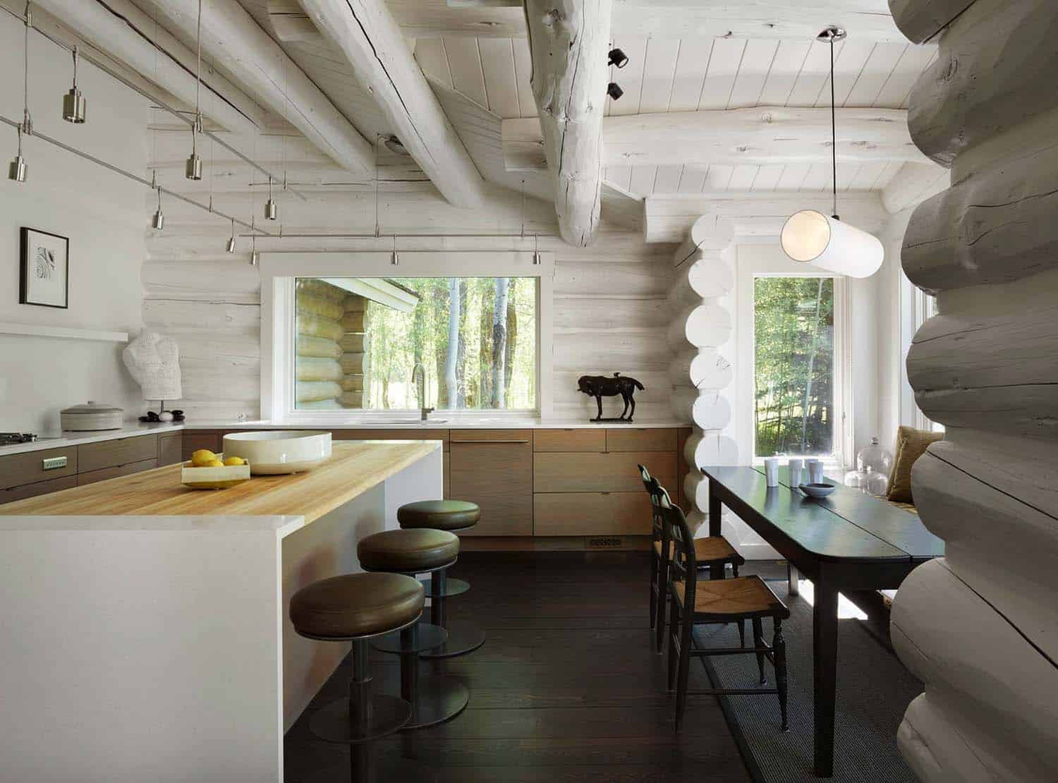 contemporary-rustic-log-cabin-kitchen
