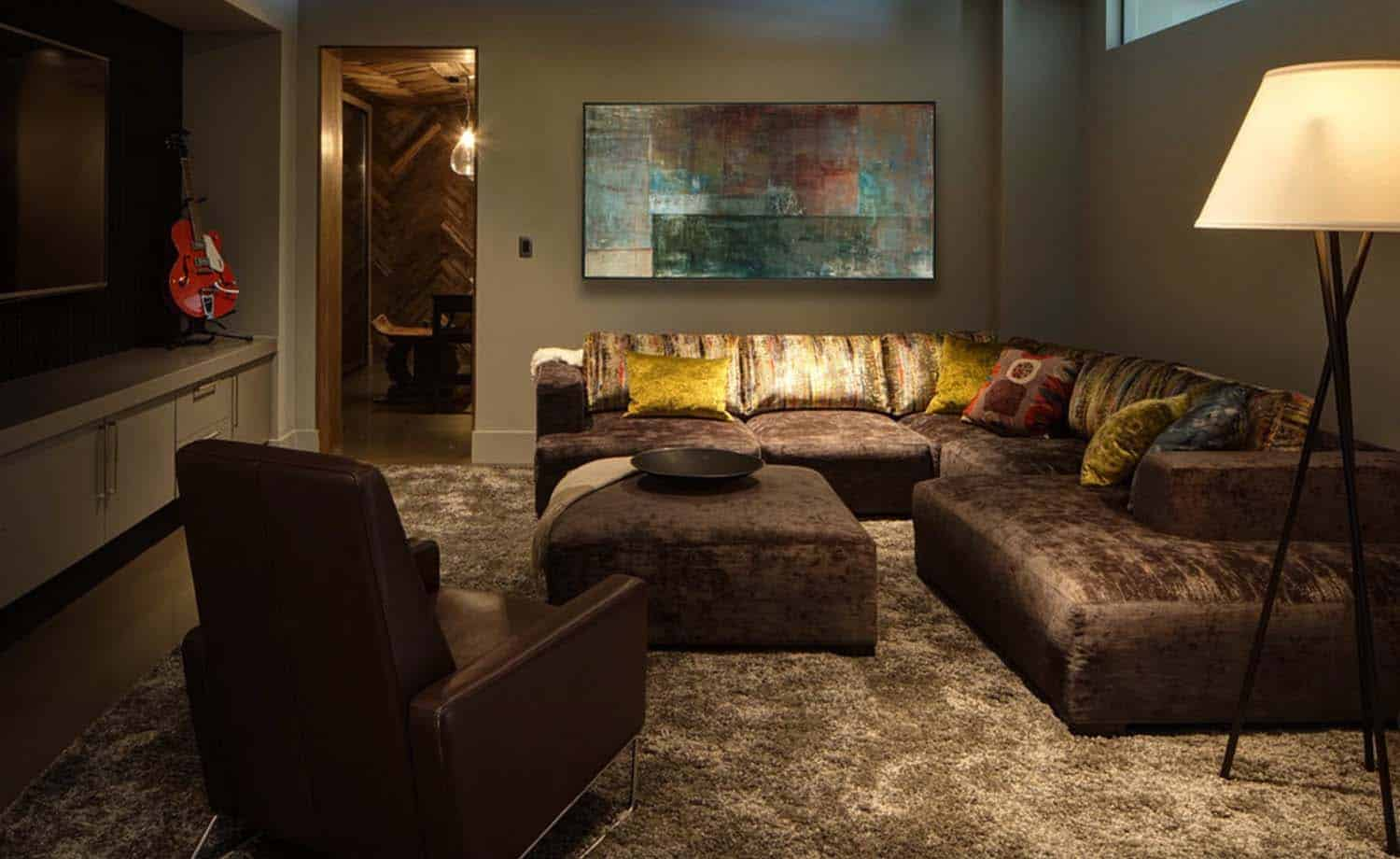 contemporary-basement-family-room