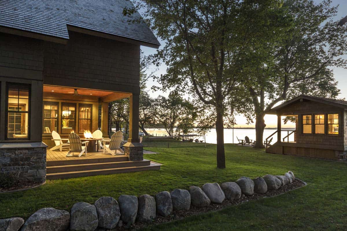 lake-home-and-boathouse-rustic-exterior