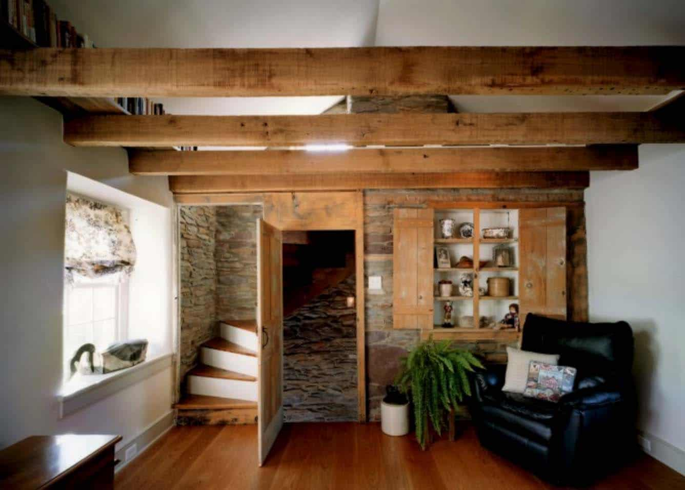 remodeled-barn-lower-level-hallway-leading-to-staircase
