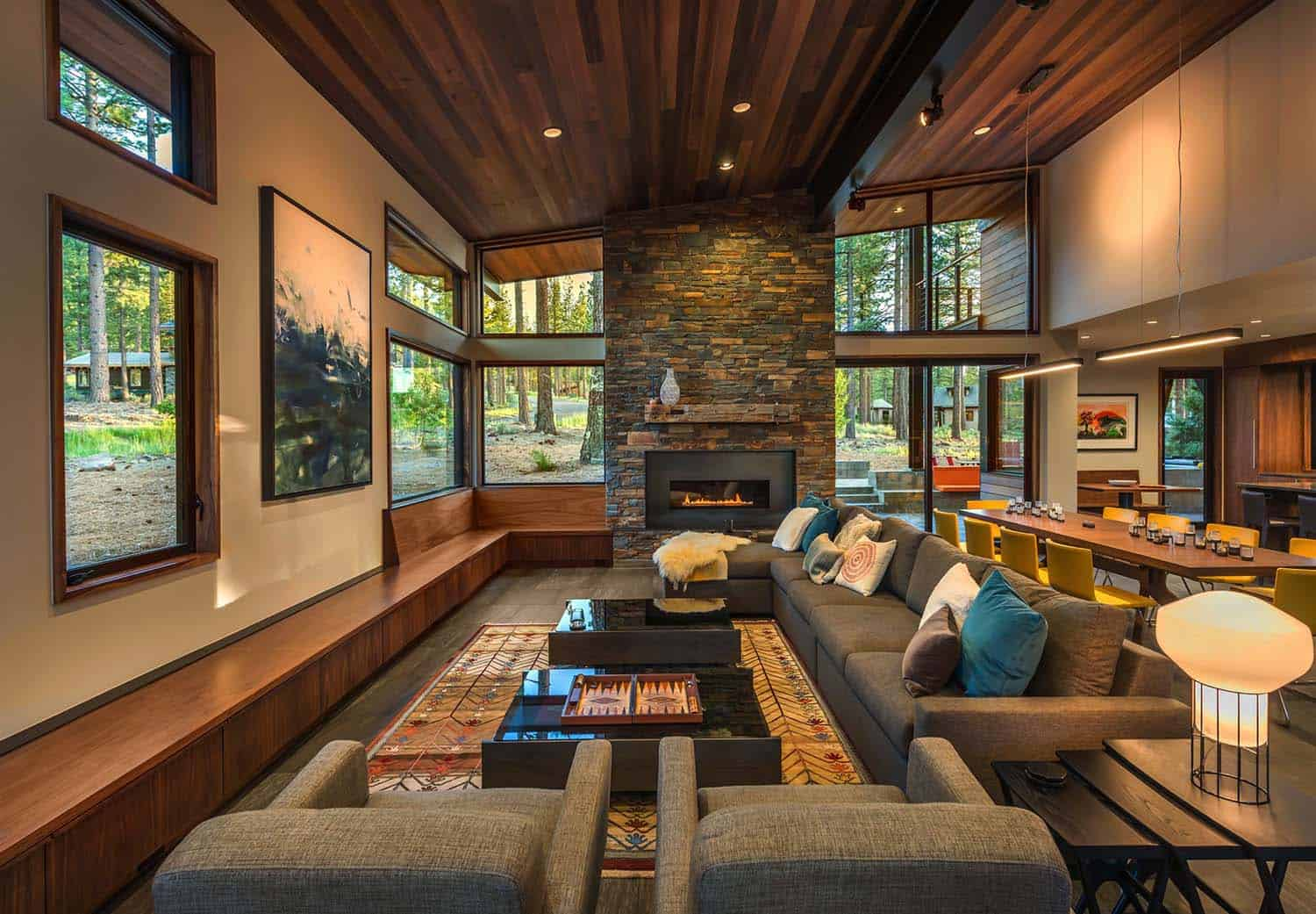 Prefabricated Tahoe mountain home secluded in beautiful pine forest
