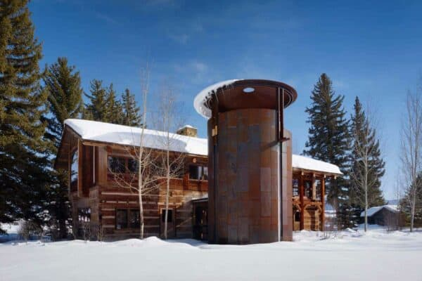 featured posts image for Stunning rustic lodge house in Wyoming features fabulous wine silo