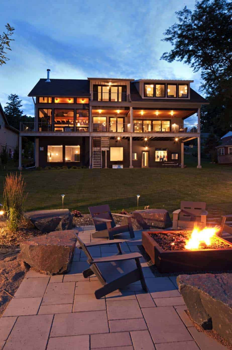 contemporary-lake-minnetonka-home-exterior-firepit