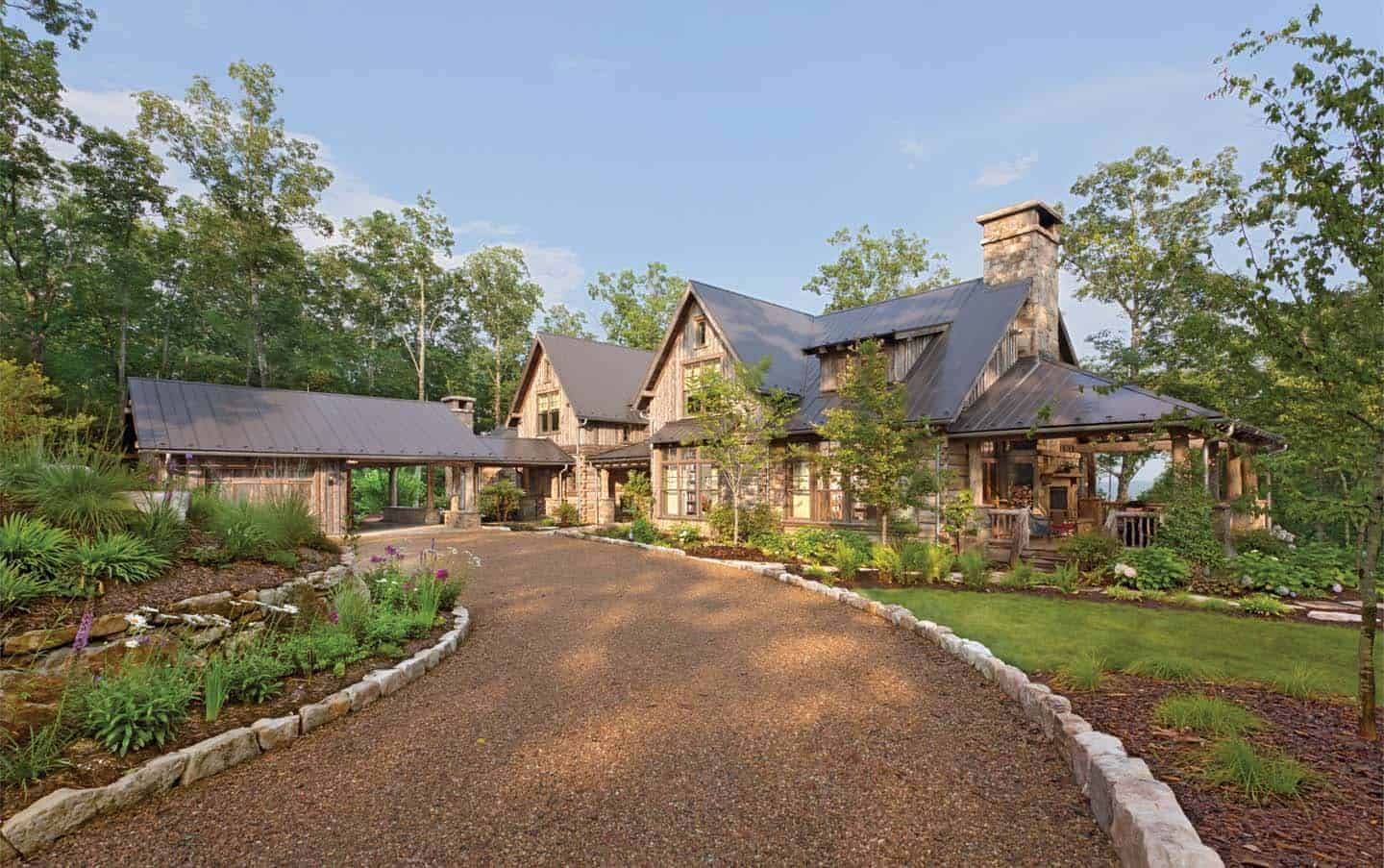 Beautiful rustic home in North Carolina clad in weathered wood on sandstone home, industrial home, painted home, green home, spring home, yellow home, j.lo home, copper home, antique home, blu home,