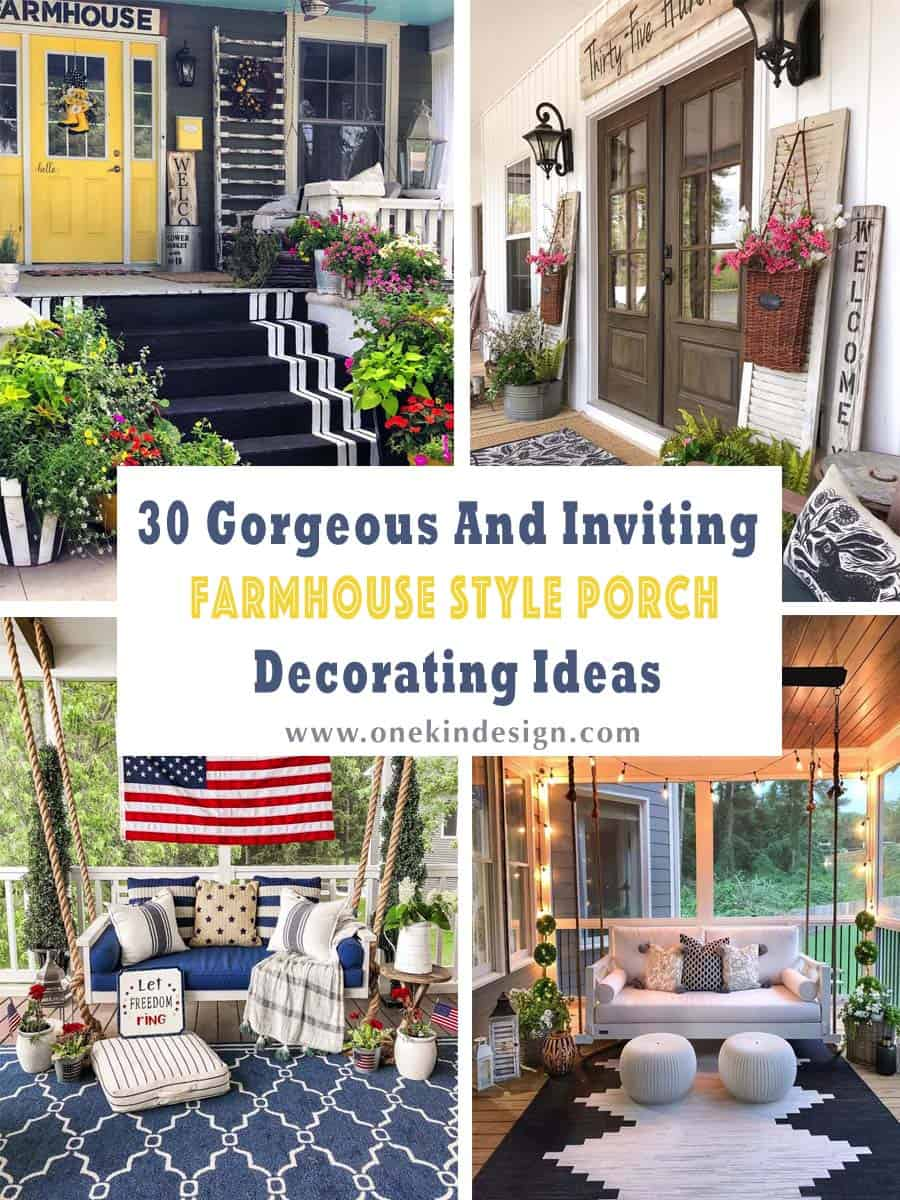 30 Gorgeous And Inviting Farmhouse Style Porch Decorating ...