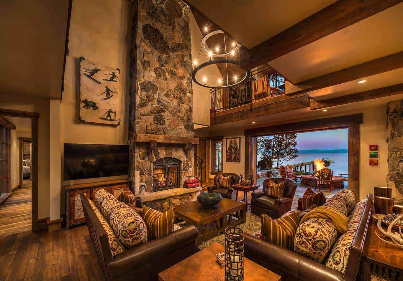 rustic-lakefront-mountain-cabin-living-room