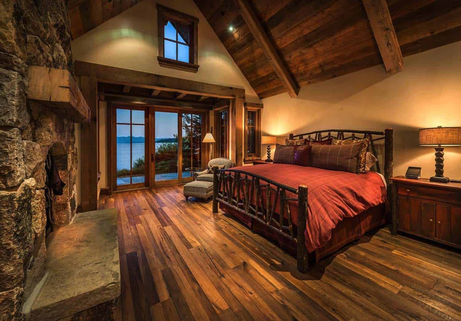 rustic-lakefront-mountain-cabin-bedroom