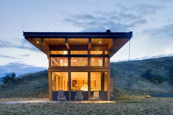 featured posts image for Compact sustainable cabin in Washington partially buried into the hillside