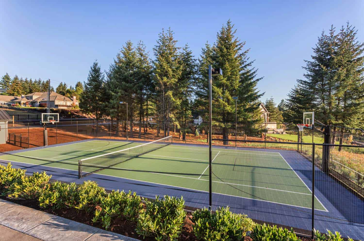 french-country-transitional-exterior-tennis-court