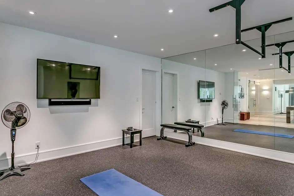 transitional-basement-home-gym