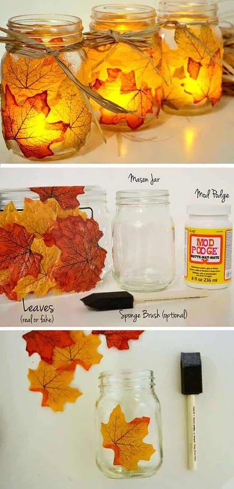 thanksgiving-decor-ideas-leaf-mason-jar-votives