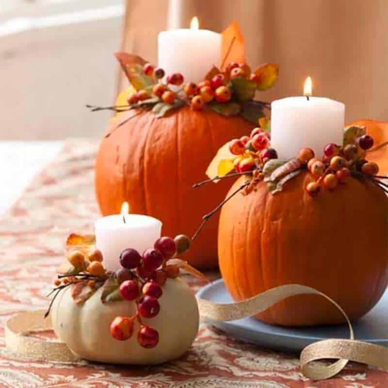 thanksgiving-decor-ideas-pumpkin-candle-display