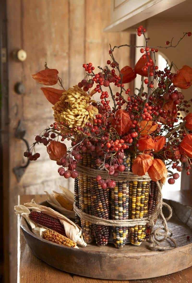 thanksgiving-decor-ideas-indian-corn-fall-foliage-display