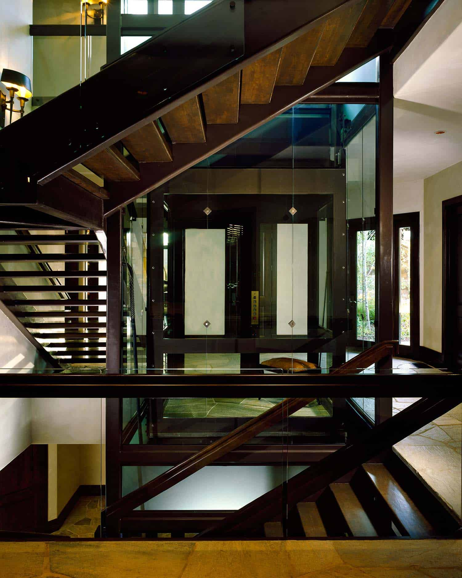 contemporary-staircase-glass-elevator